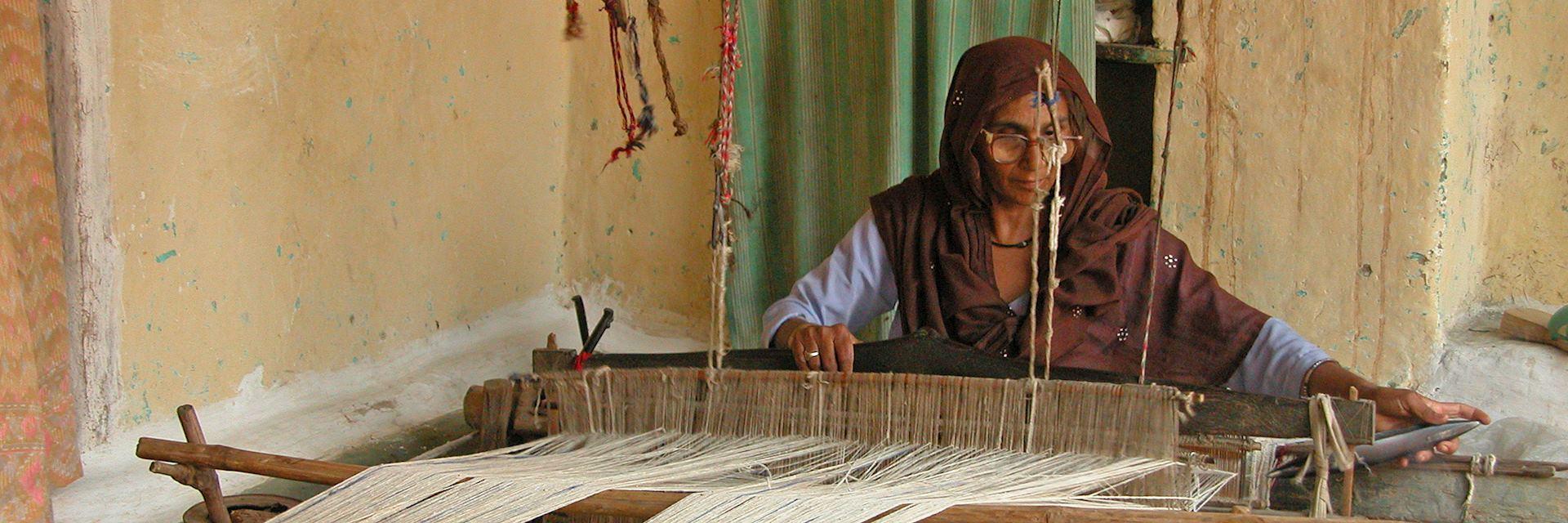 Durries being woven at Garli, Pragpur