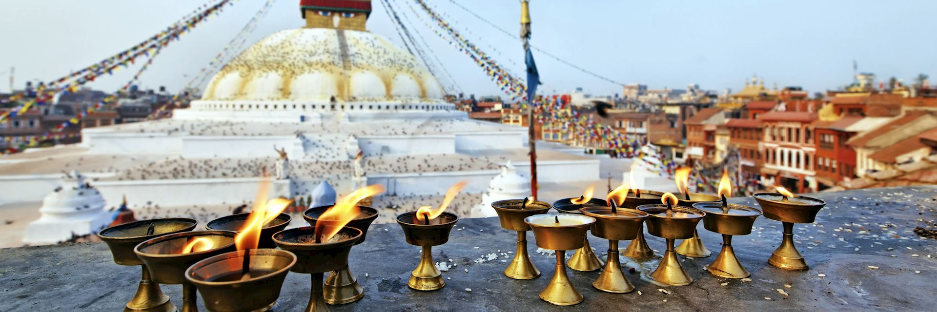 Sacred candles at Boudhanath Stupa