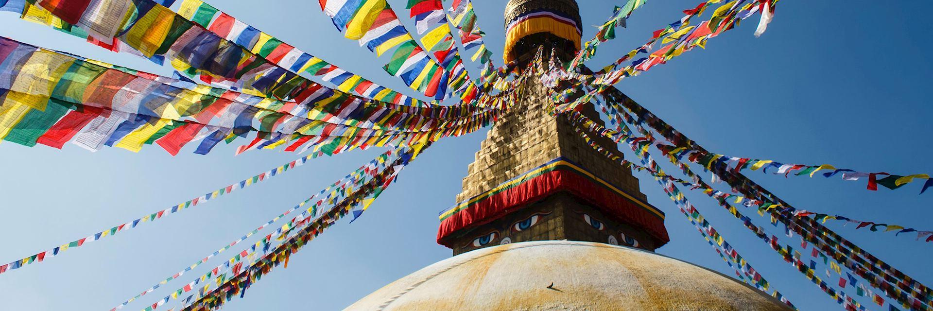 Prayer flags flying from a stupa in Kathmandu