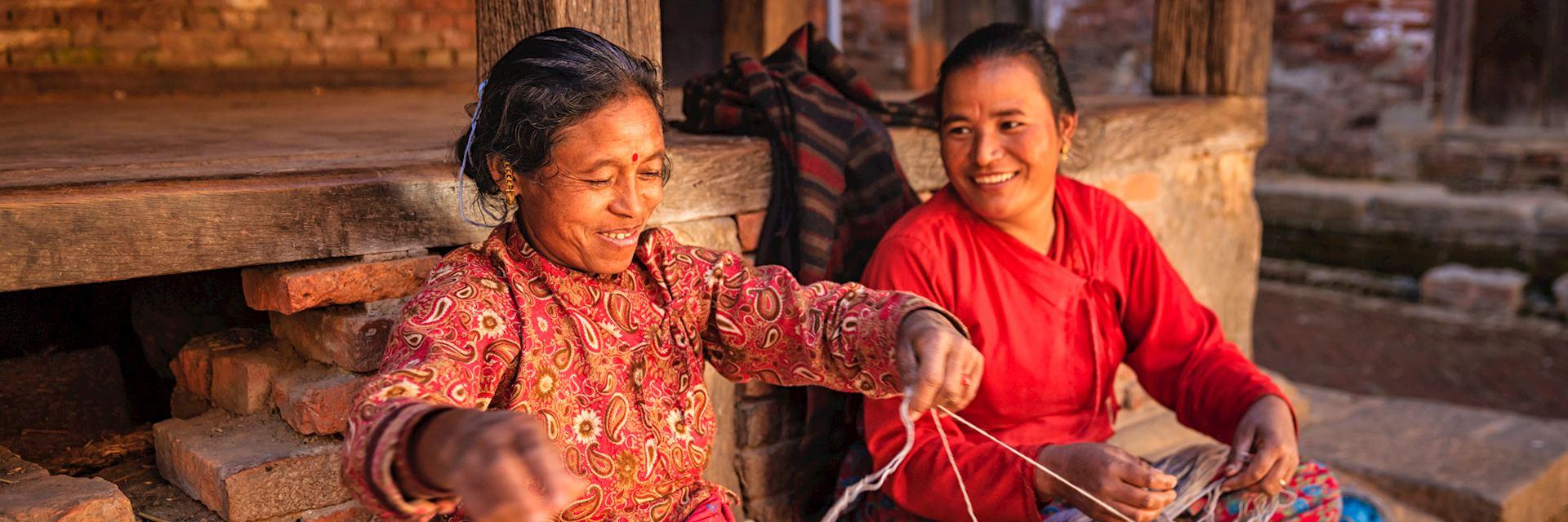 Nepalese women spinning wool, Bhaktapur