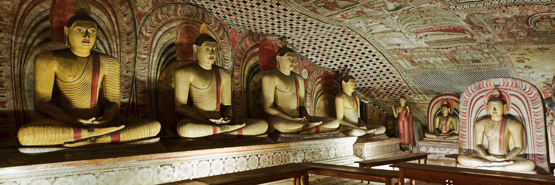 Buddha statues inside Dambulla Cave