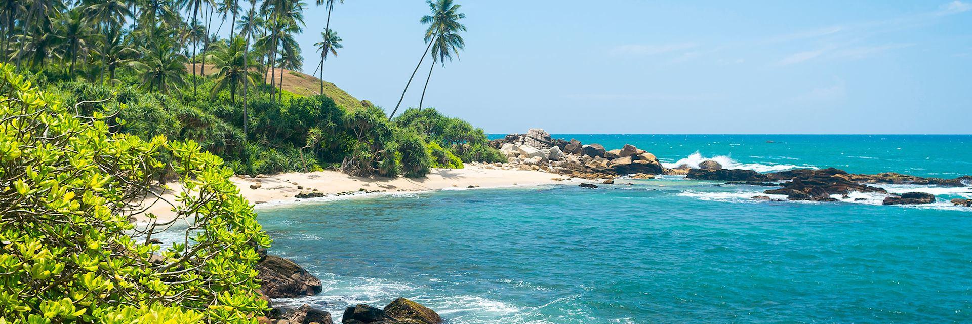 Mirissa coastline in Sri Lanka