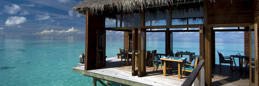 The overwater restaurant at the Conrad Rangali Resort, Maldives
