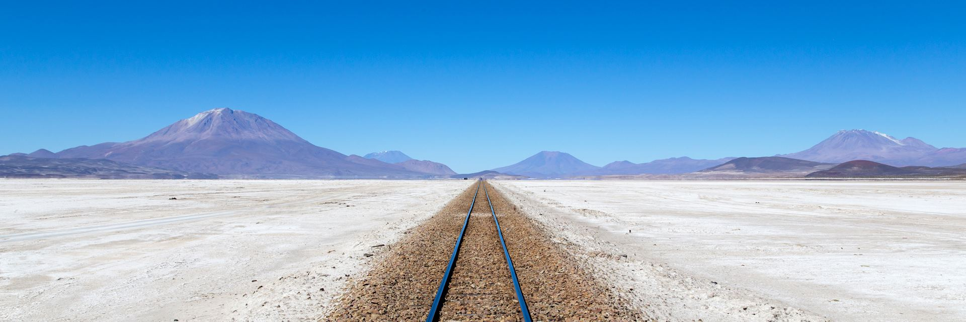 Rail tracks in Salar de Uyuni, Bolivia