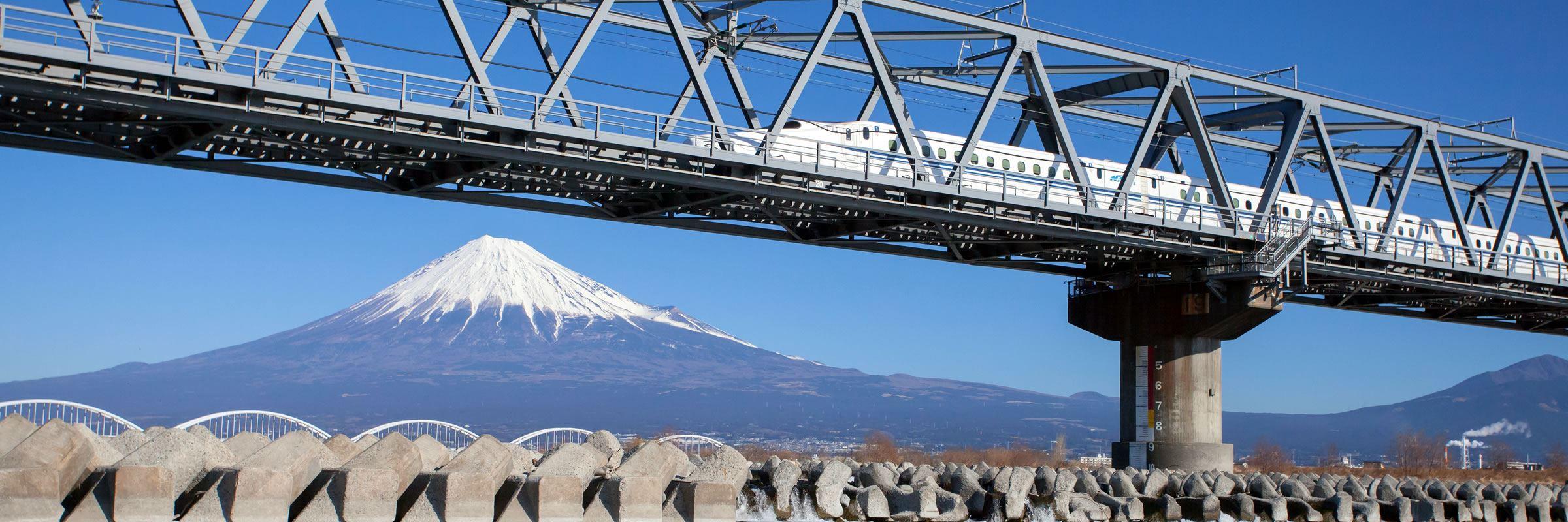 Shinkansen bullet train and Mount Fuji