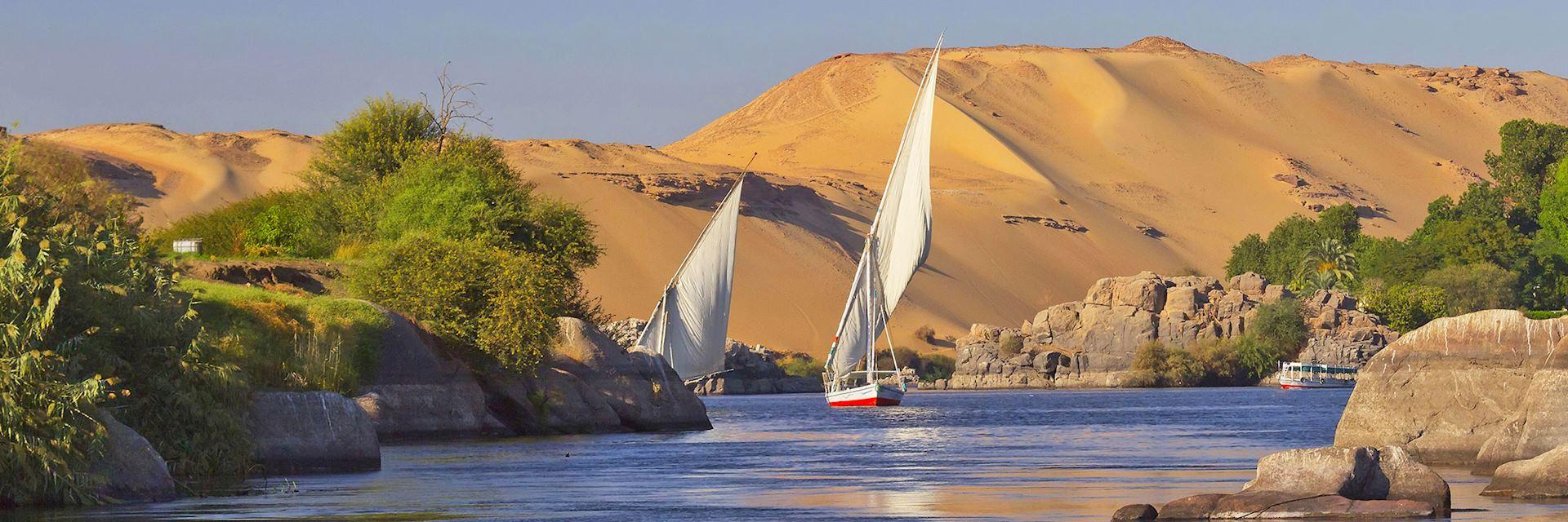 Sailing boats on the Nile near Aswan