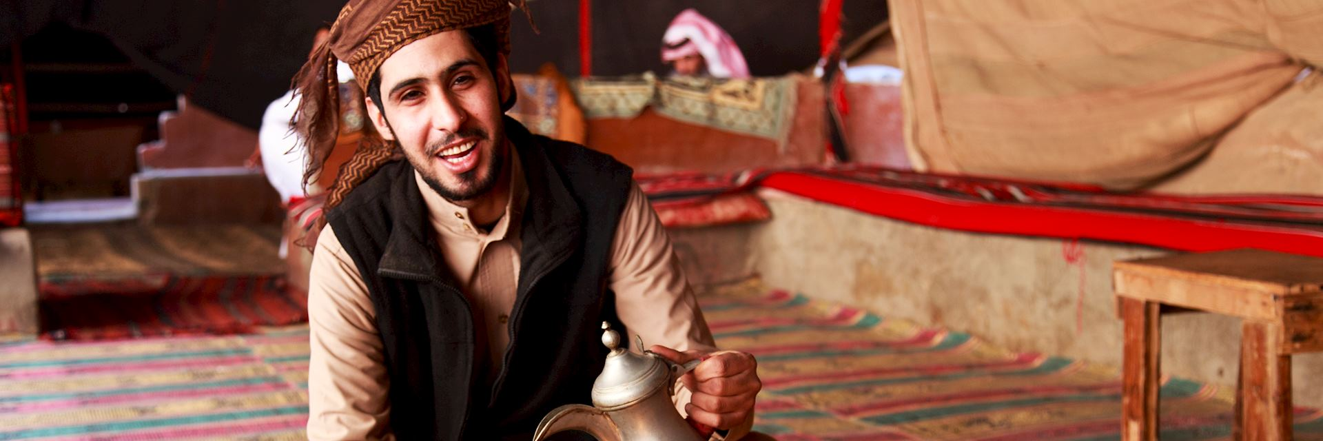 Man serving coffee in Jordan