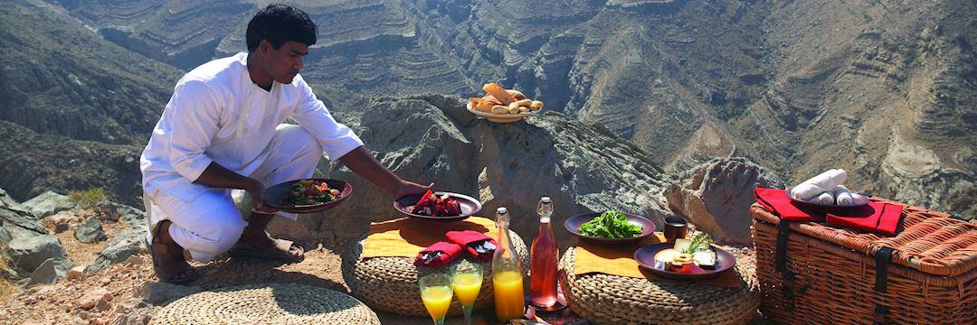 Mountain picnic from Six Senses at Zighy Bay, Oman