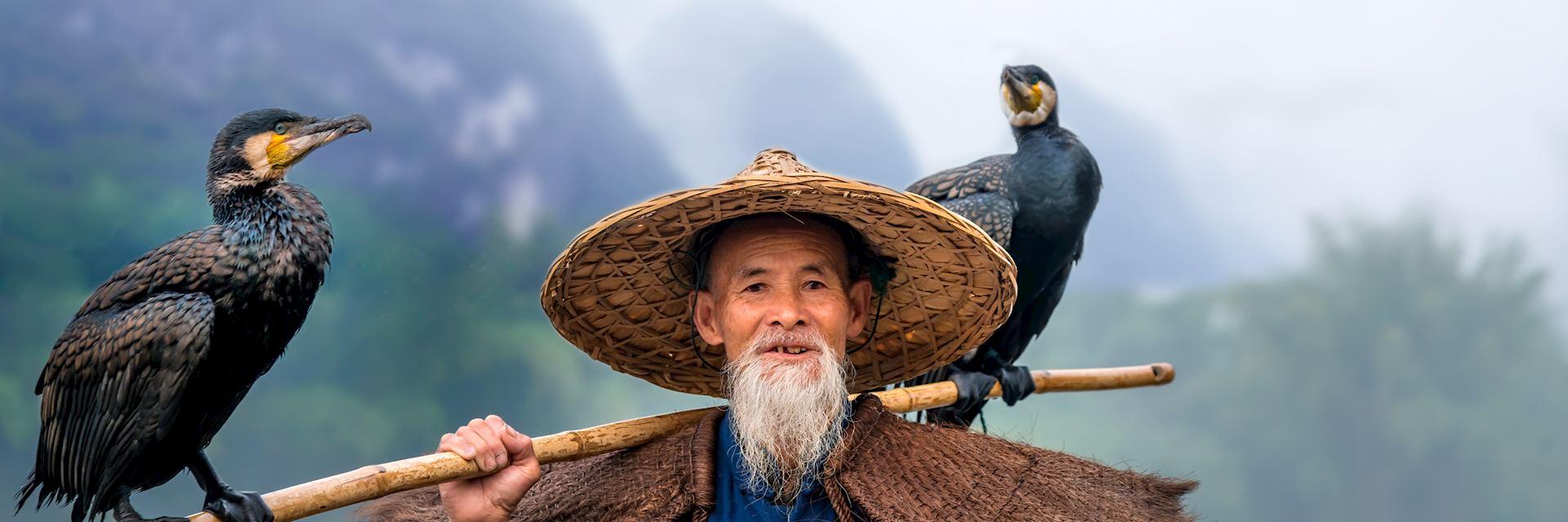 Fisherman with cormorants on the Li River