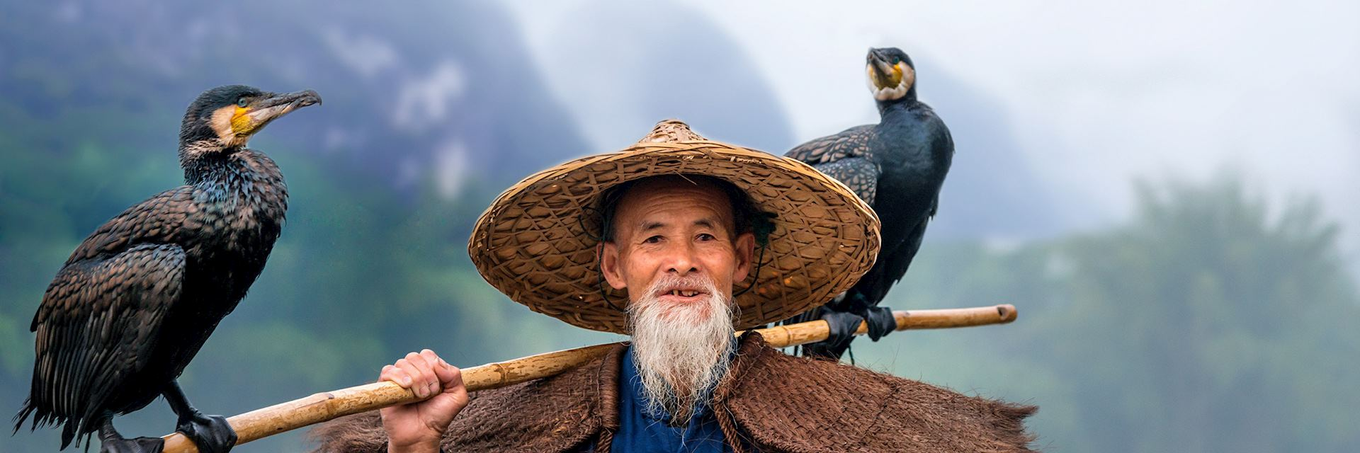 Fisherman with cormorants on the Li River