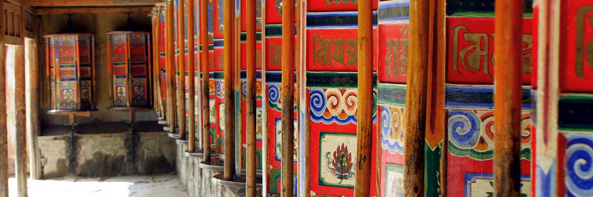 Prayer wheels in Xiahe