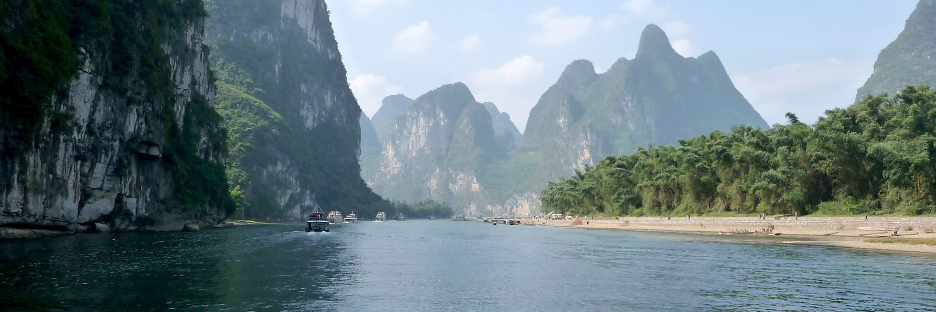 Limestone scenery along the Li River. Guilin, China