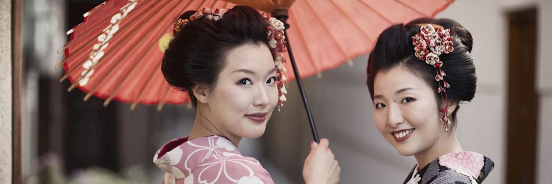 Japanese women wearing traditional kimono's