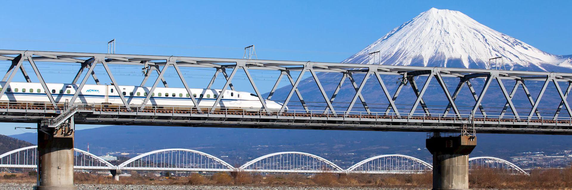 A bullet train passes Mount Fuji