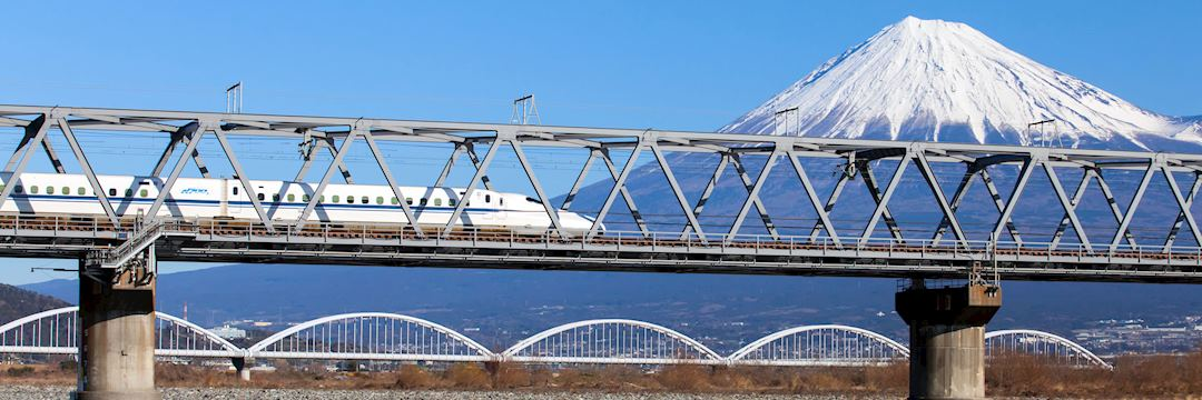 A bullet train passes Mount Fuji