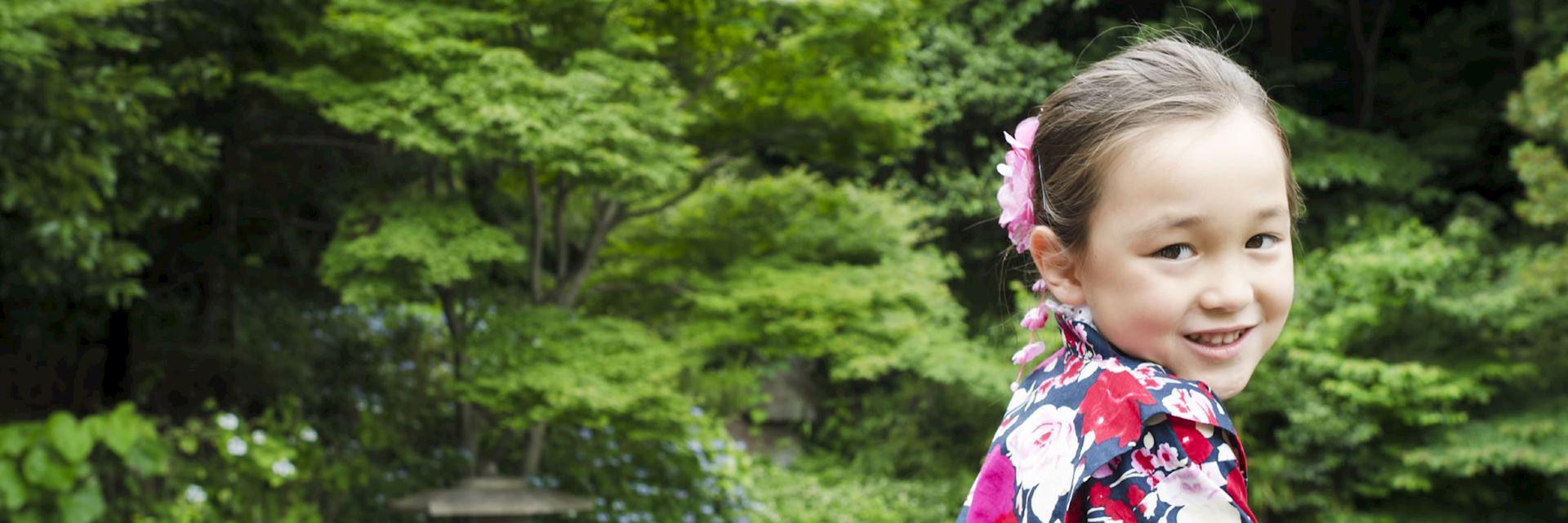Japanese girl in traditional kimono dress