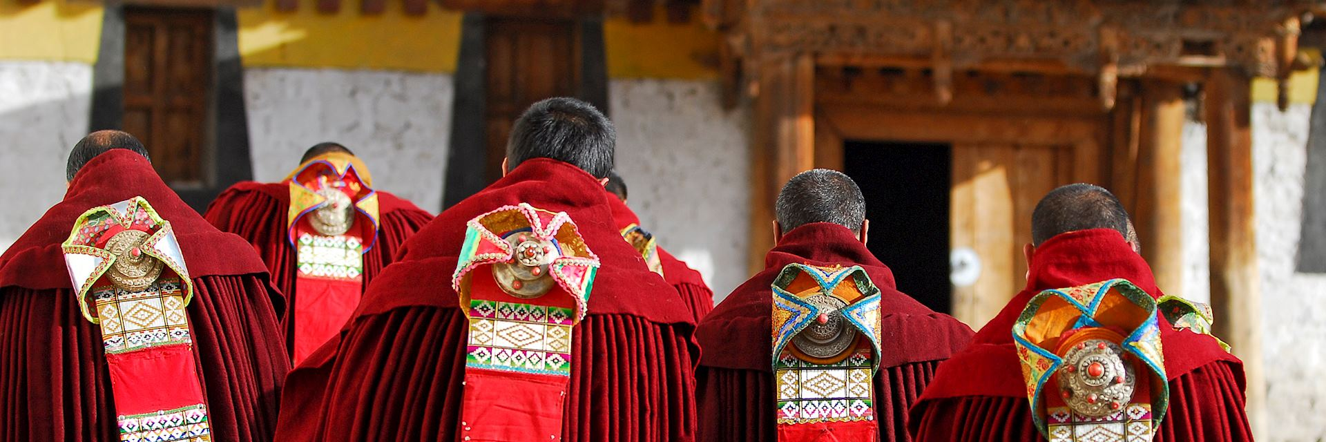 Tibetan monks taking part in a ceremony