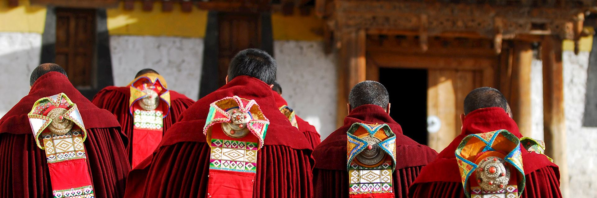 Tibetan monks taking part in a cermony