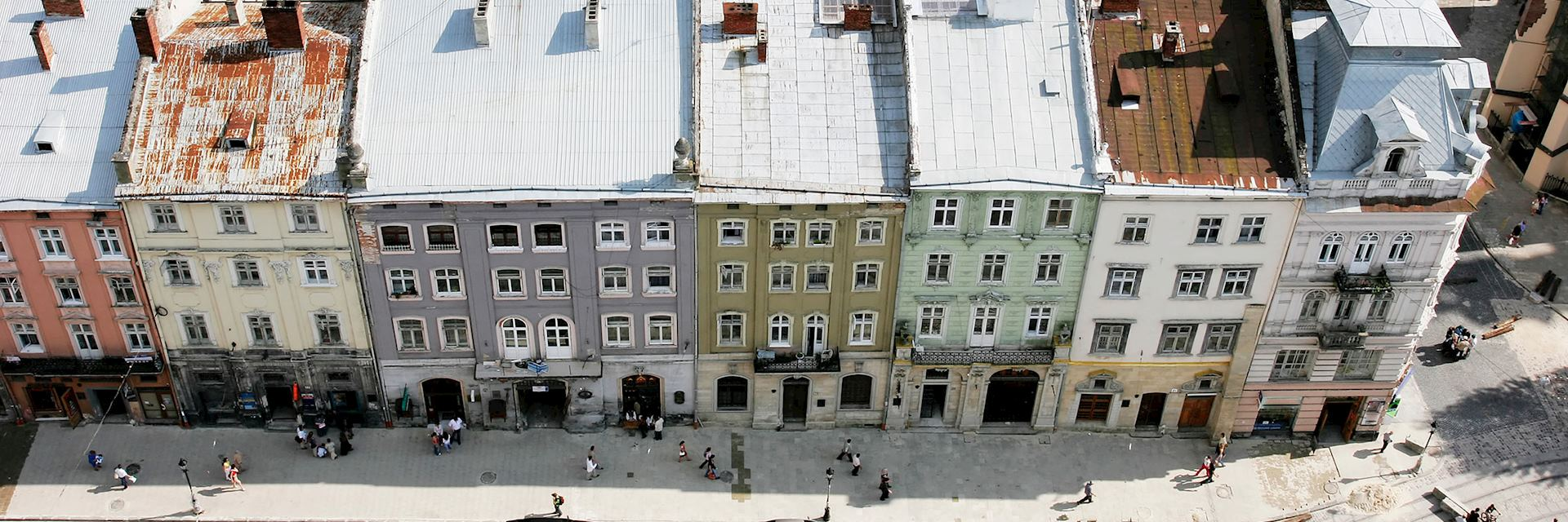 Aerial view of a street in Ukraine