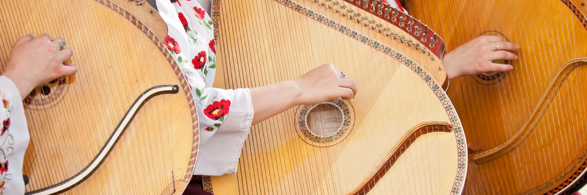 Traditional stringed instruments being played in Ukraine