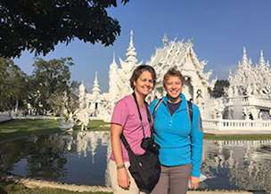 LeeAnn and Mary at the White Temple, Chiang Rai