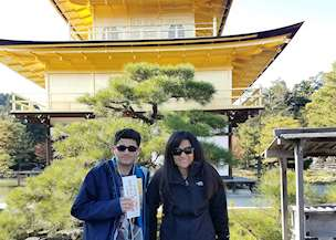 Mother and son visiting Japan