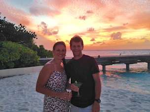 Jenny and Tom Page on their honeymoon in the Maldives