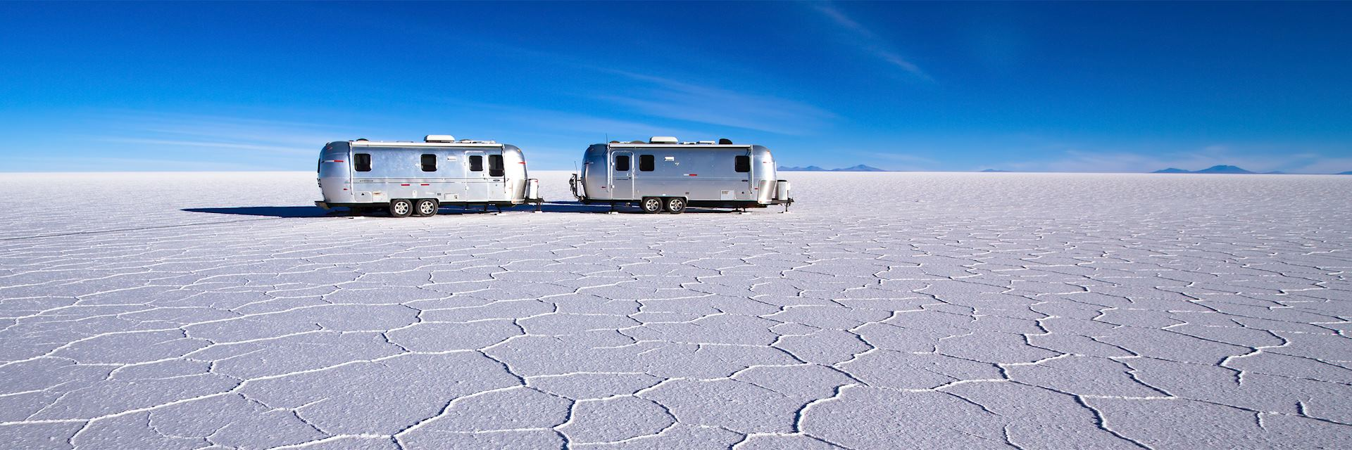 Airstream campers in Salar de Uyuni