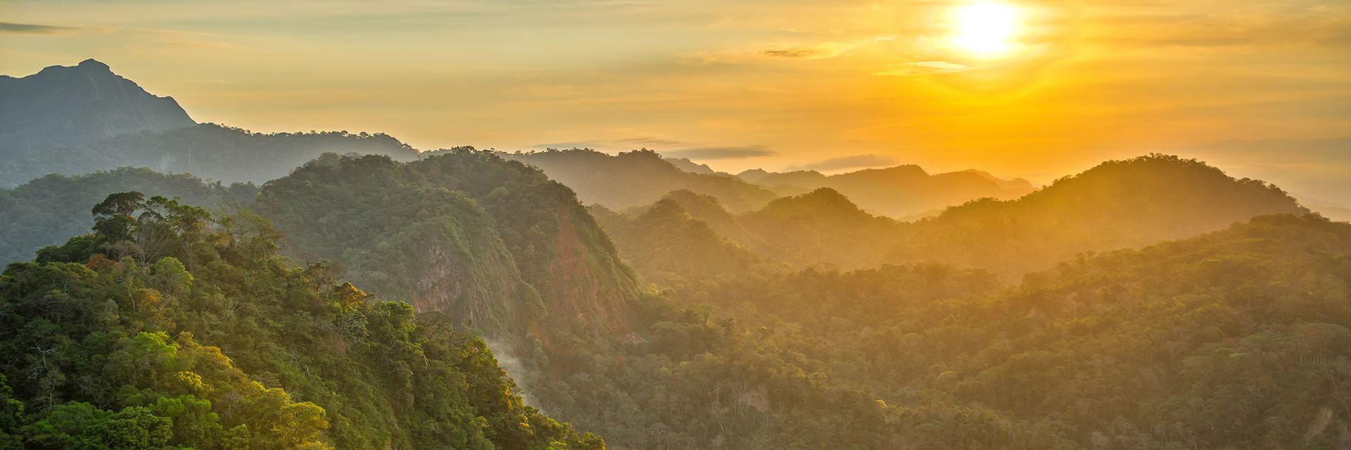 Sunset over a Bolivian rainforest