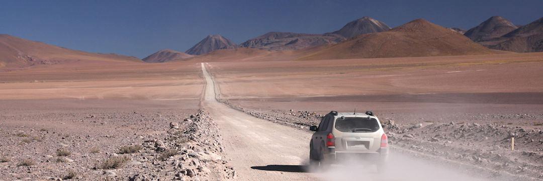 Driving in the Andes Mountains, leading to San Pedro de Atacama