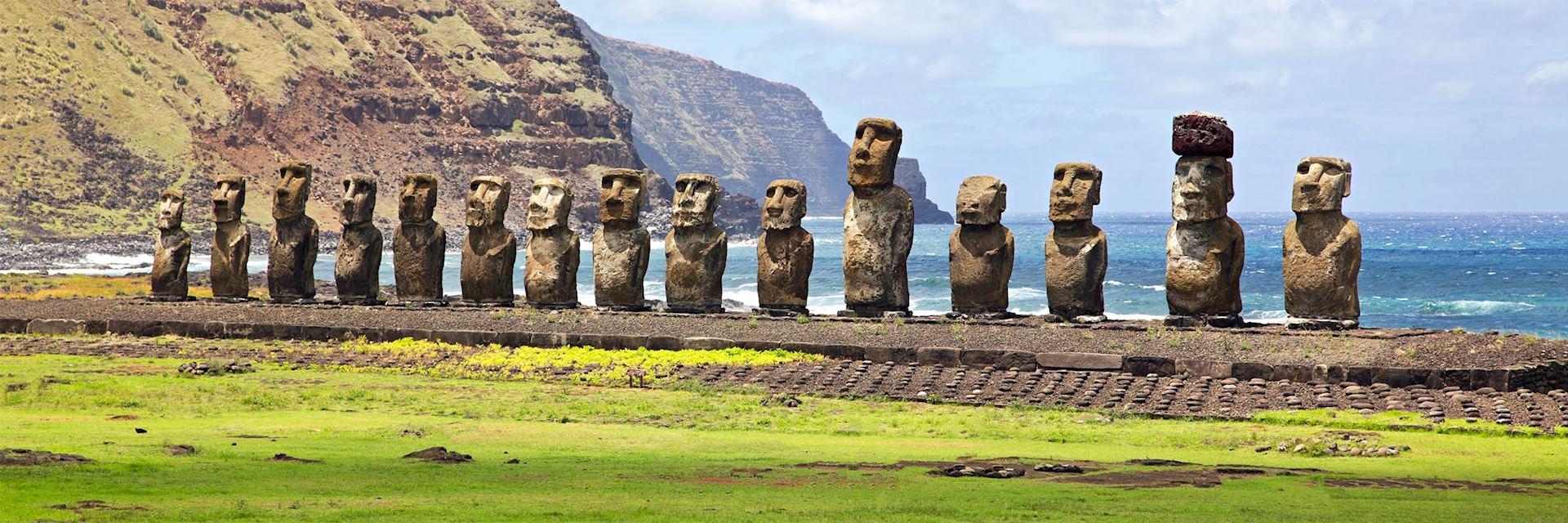 Polynesian Moai statues on Easter Island