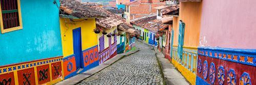 Colourful cobblestone street in Medellín