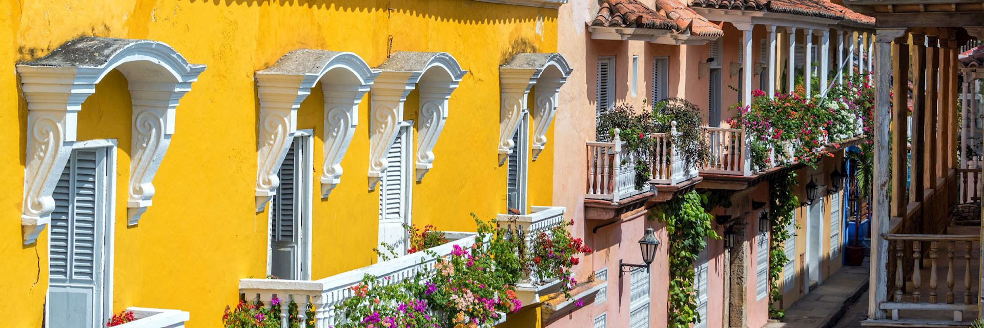 Colonial style balconies in Cartagena