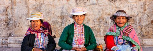 Peruvian women in national costume, Chivay
