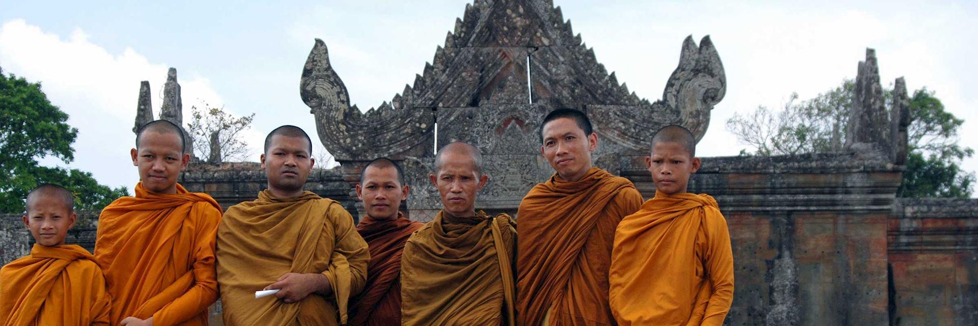 Buddhist monks at Preah Vihear