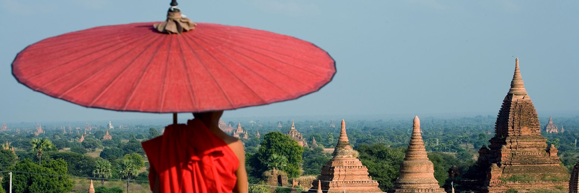 Monk looking out over Bagan's temples