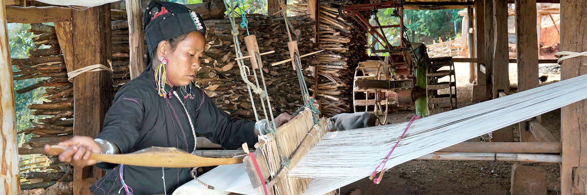 An tribe woman weaving cotton, Myanmar