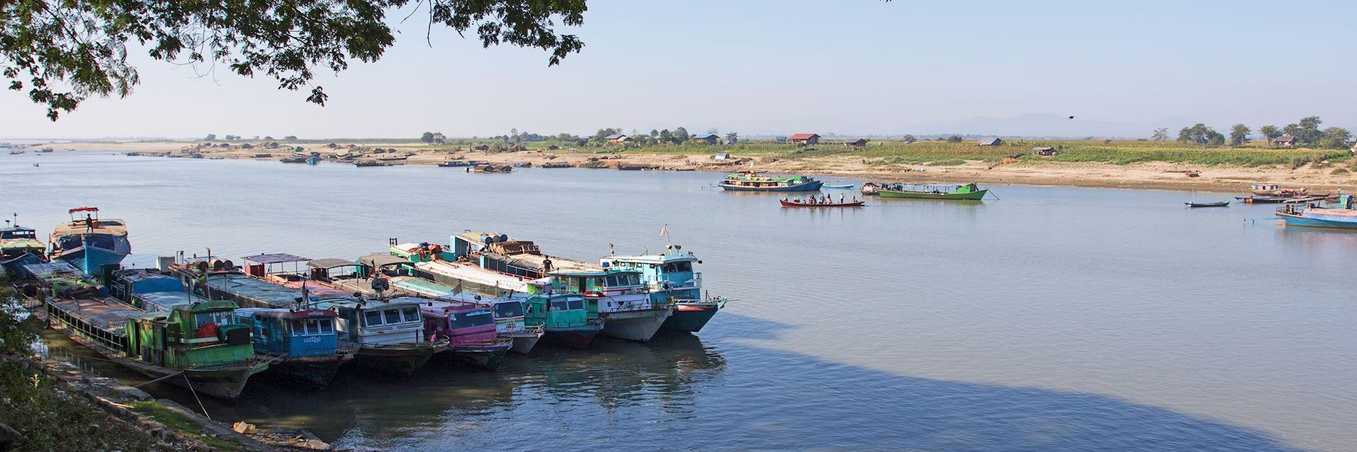 Boats docked in Bhamo