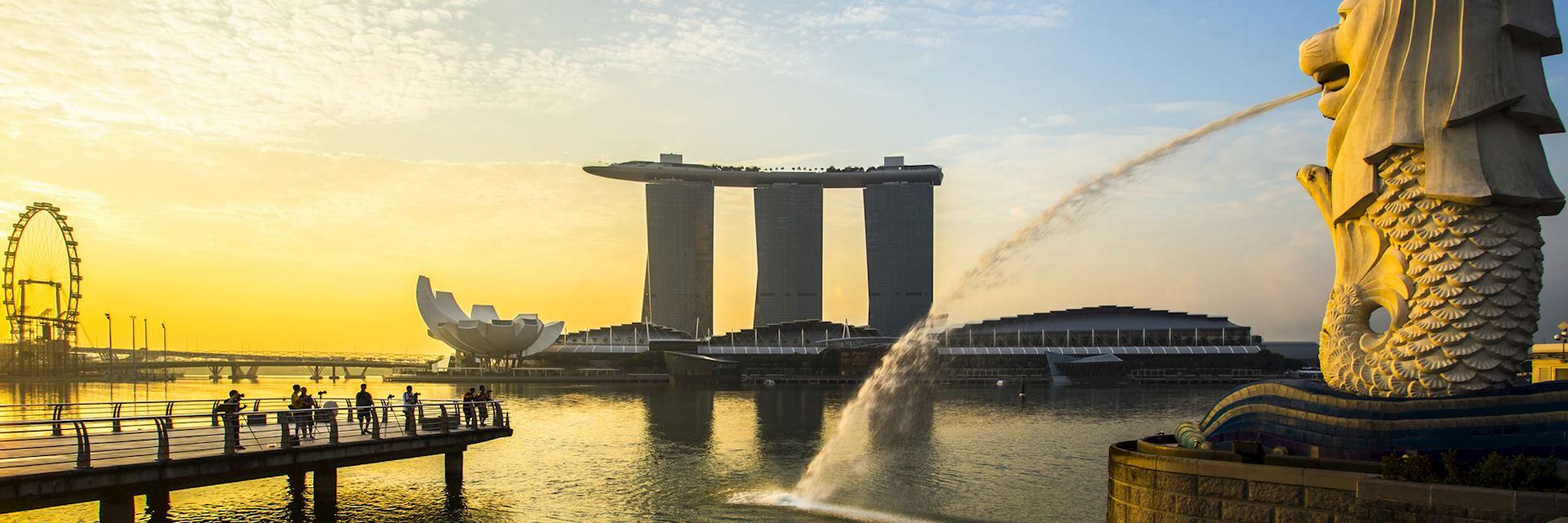 Merlion at sunrise, Singapore