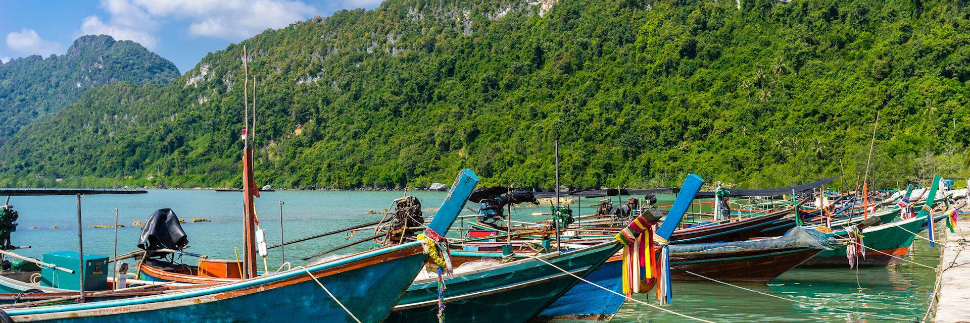 Long-tail boats docked at Khanom beach
