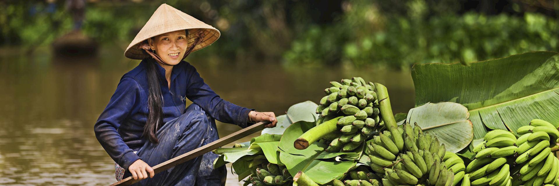 Floating market on the Mekong Delta