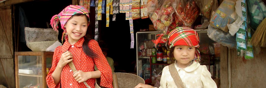 Young girls off to market, Vietnam
