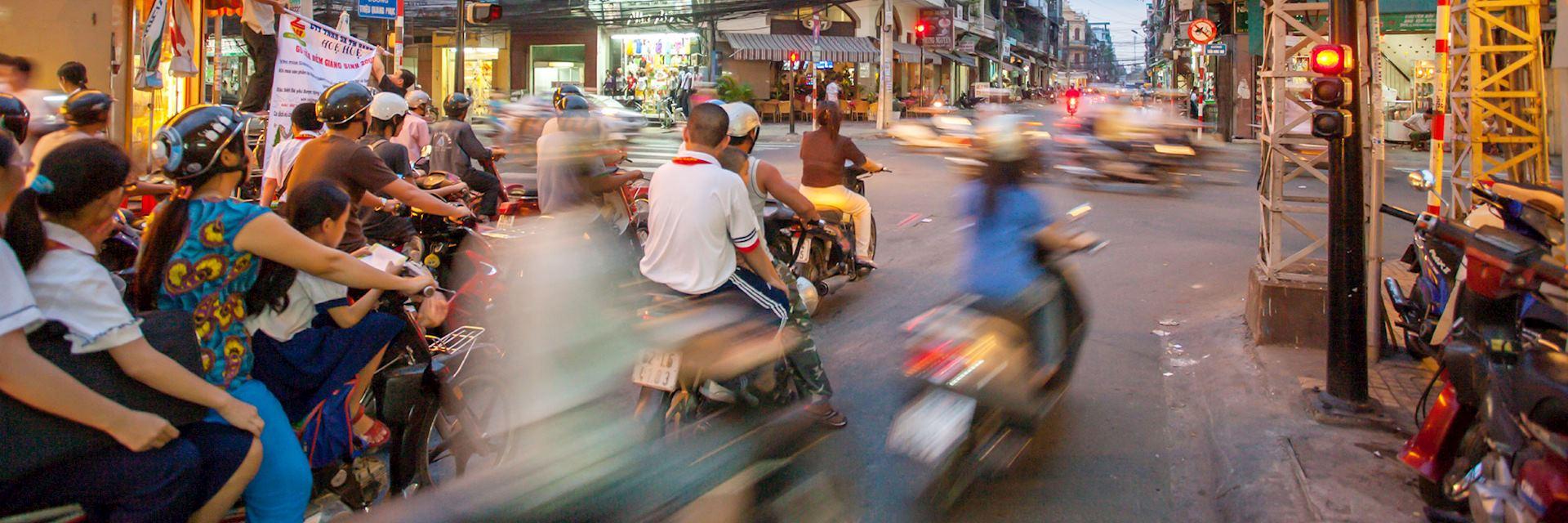 Vespas in Saigon, Vietnam