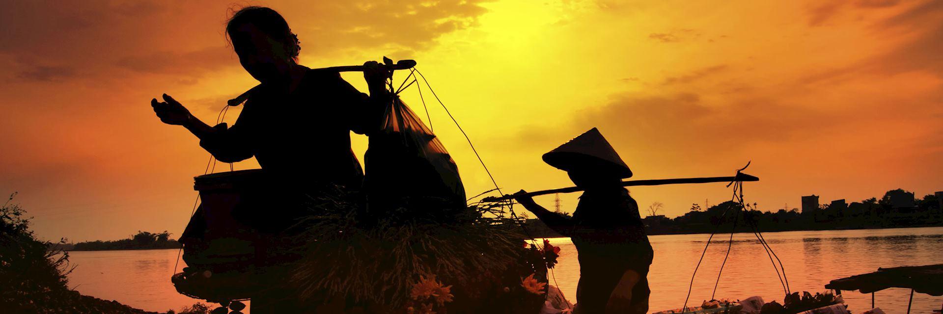 A setting sun over Hoi An