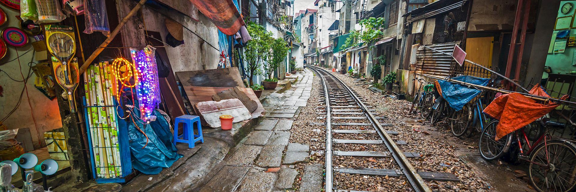 Rail line running through part of Hanoi