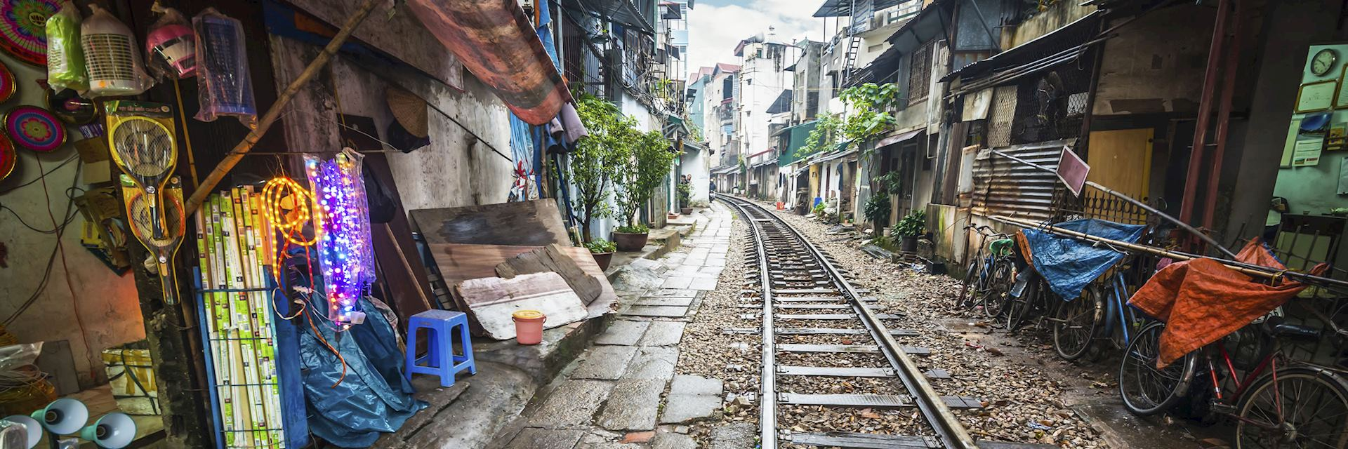 Rail line running through part of Hanoi