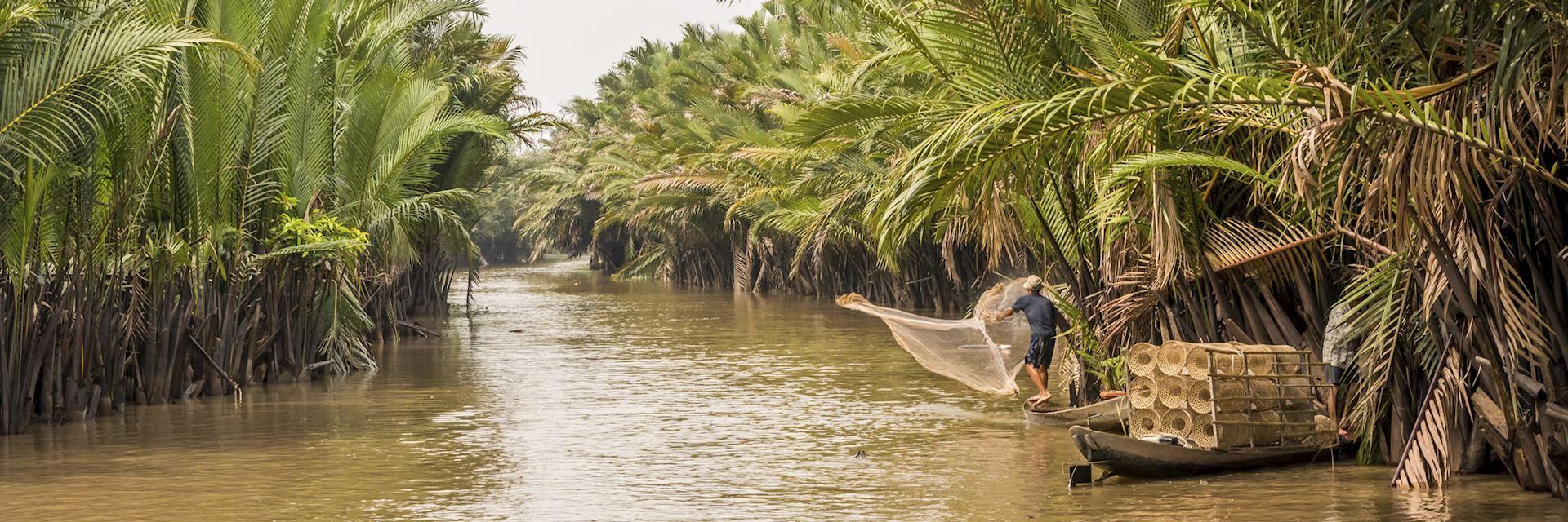 Fishing on the Mekong River, Vietnam
