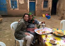 Amira with a Berber family, Morocco