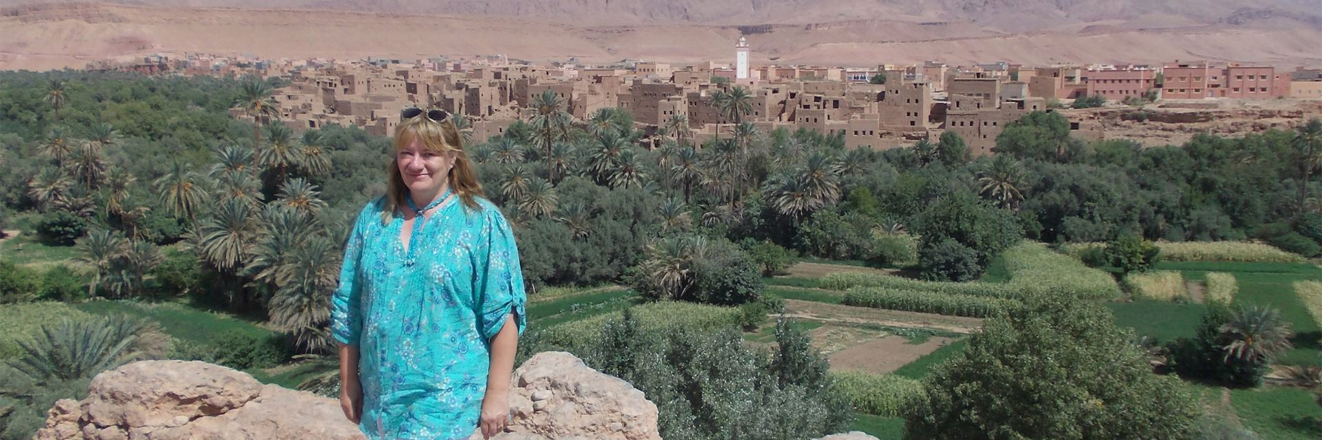 Brigitte visiting the ancient town of Ait Benhaddou, Morocco
