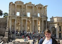 Clair taking in the ancient ruins of Ephesus, Turkey